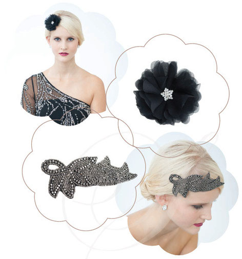 Kopfschmuck der Glitzer und Glamour Kollektion in der Trendfarbe Schwarz.
