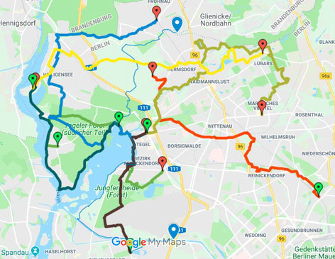 Berlin Reinickendorf - Übersicht der Wanderwege im Bezirk