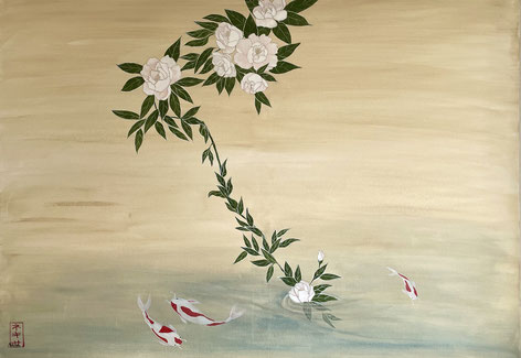 peonies and koi japanese nihonga painting