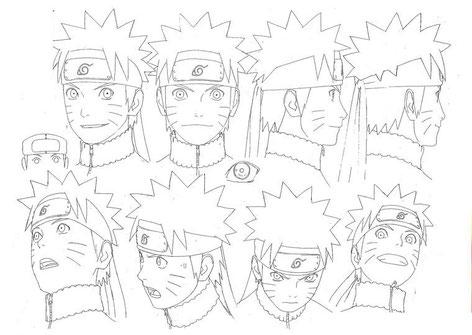 Turn around della testa di Naruto Uzumaki dal manga Naruto dell'autore giapponese Masashi Kishimoto
