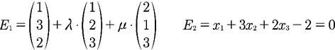 Beispiel für zwei Ebenengleichungen