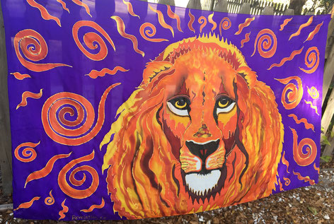 Lion made of fire with big yellow eyes on a deep purple background with flames all around.  Pure silk, hand-dyed.