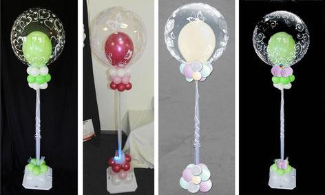 Ballon Luftballon Ständer Dekoration Deko Hochzeit Eingang Herzen Ballonständer elegant modern personalisiert mit Namen Brautpaar Muster Bubble
