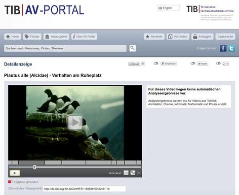 """Screenshot der Einstiegsseite zum wissenschaftlichen Film eines """"Filmemachers"""" im AV-Portal der TIB"""