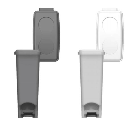 -1002019 Papelera de Pedal Extra Slim 42 litros BLANCO -1002520 Papelera de Pedal Extra Slim 42 litros GRIS PLATA-