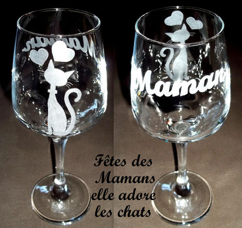 Gravure sur verre Fête des Mamans