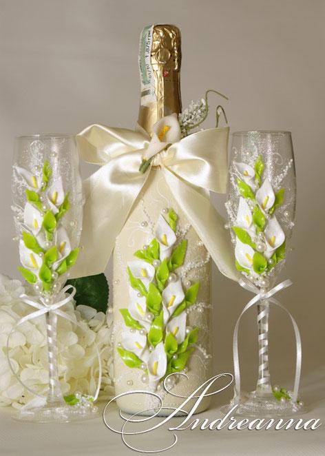 """Декор свадебного шампанского """"каллы"""", стоимость 600 грн"""