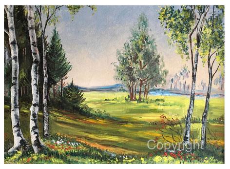 Ölbild Birken Landschaft warm