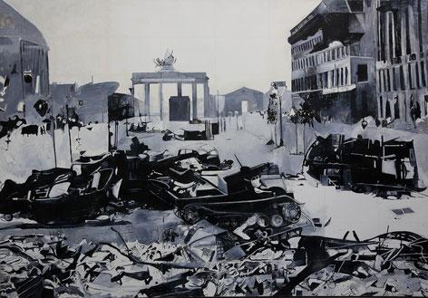 """Berlin 1945"", Acryl/Öl auf Leinwand, 200 x 295 cm, 1994"