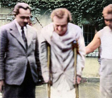Meher Baba assisted by Meherjee ( left ) & Adi K. Irani. Image colourized by Anthony Zois.