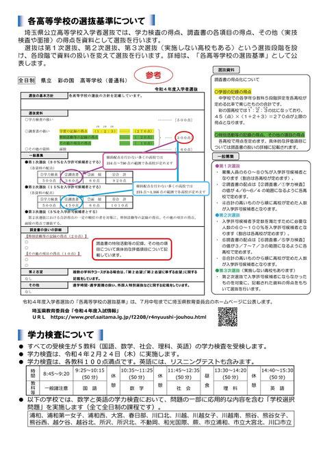 埼玉県公立高校入試リーフレット,入試日程,選抜基準,学力検査