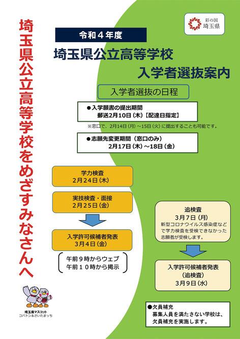 埼玉県公立高校入試リーフレット,入試日程