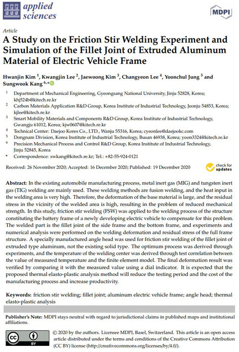 A Study on the Friction Stir Welding Experiment and Simulation of the Fillet Joint of Extruded Aluminum Material of Electric Vehicle Frame: : In the existing automobile manufacturing process, MIG and TIG welding are mainly used.