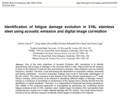 Farhan Tanvir, Tariq Sattar, David Mba , Graham Edwards, Elvin Eren and Yoann Lage: Identification of fatigue damage evolution in 316L stainless steel using acoustic emission and digital image correlation