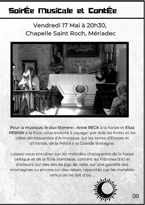 Sterenn - Duo harpe flûte - Concert de musique féérique et celtique -  Chapelle de la Bogerais à Saint-Gravé, le samedi 11 août 2018 à 20h30