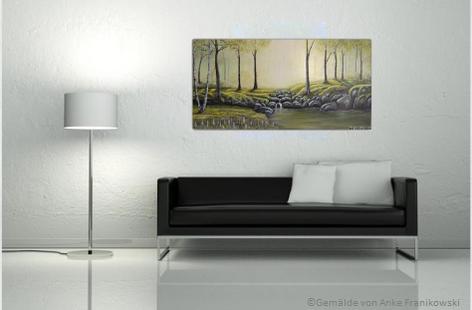 Landschaftsmalerei, Leinwandbild mit einem Wald und See, ein modernes Acrylbild online kaufen.