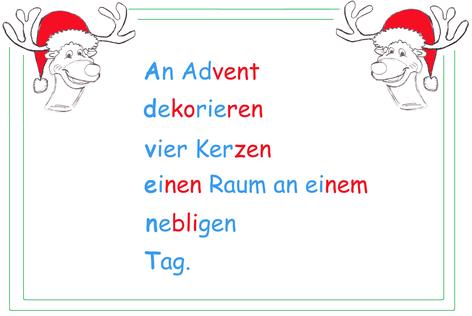 Weihnachtswörter, Akrostichon Advent Beispieltext, Weihnachtswortschatz