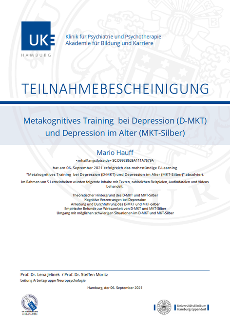 Zertifikat MKT/D-MKT Metakognitive Therapie UKE Hamburg
