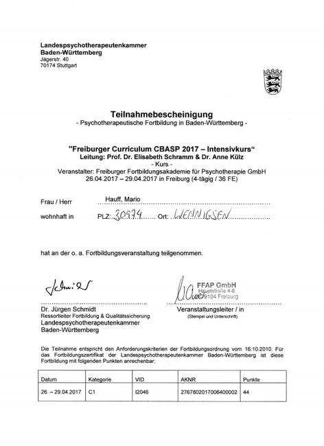 Zertifikat CBASP Depression FFAP Freiburg