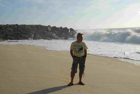 Wellen an der Küste von Costa Nova