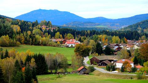 Blick zum `Hohen Bogen` Zackermühle und Lohberghütte