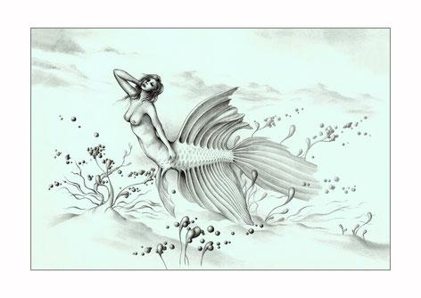 arte fantastico, dibujo fantastico, paisajes fantasticos, dibujantes españoles, surrealismo, sirenas, dibujos de sirenas, dibujos a lapiz