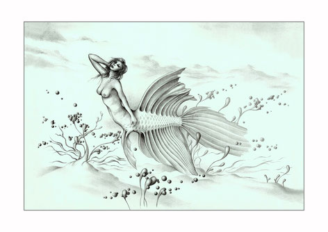 Mermaids, drawing of mermaids, fantasy art, fantasy drawings, drawings by Spanish artists, fantasy landscapes, pencil drawings, creatures, drawings of creatures, fantasy creatures,