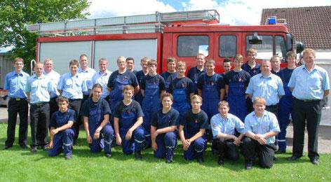 Der erfolgreiche Feuerwehrnachwuchs mit den Betreuern                    (Foto: Bauer)