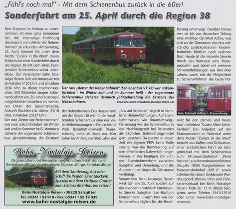 Sonderfahrt am 25. April durch die Region 38