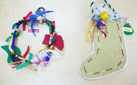 クリスマス会でモンテッソーリの活動のために、0~1歳児向けにリーフ、2歳児向けに靴下を用意しました。