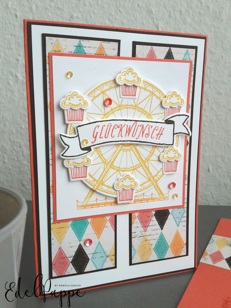 Geburtstagskarte mit Stampin' Up! Stempelset Birthday Carousel und Designpapier