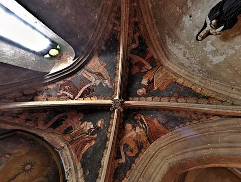 Peinture monumentale les 4 évangelistes à Carennac - Source Photographie Panoramique