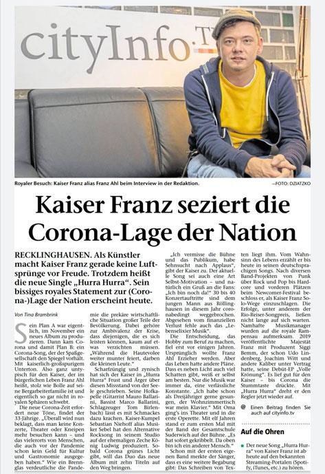 Recklinghäuser Zeitung, 11.12.2020 © Tina Brambrink, Foto: Julia Dziatzko