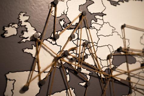 Karte mit Vernetzung