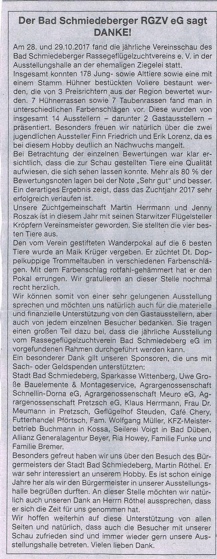Bericht im Amtsblatt der Stadt Bad Schmiedeberg im November 2017
