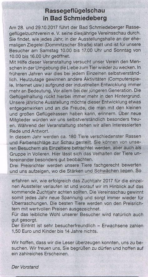 Bericht im Amtsblatt der Stadt Bad Schmiedeberg im Oktober 2017