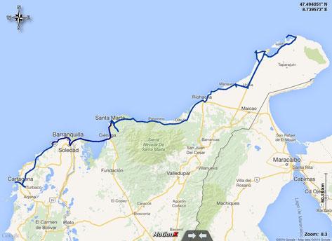 gefahrene Route in Kolumbien an der Karibikküste