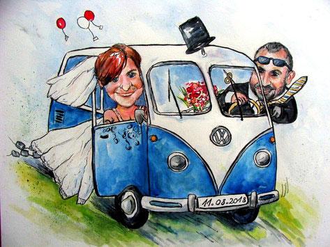 Personalisierte Karikatur für eine Hochzeit.