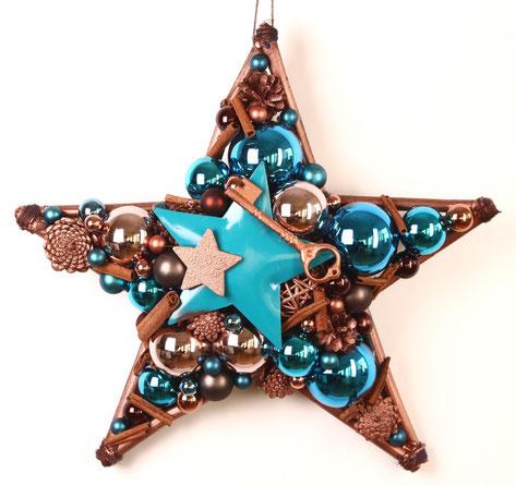 Handgefertigter Stern aus Glaskugeln in türkis-kupfer.