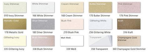 Farbpalette für zusätzlicher Einleger