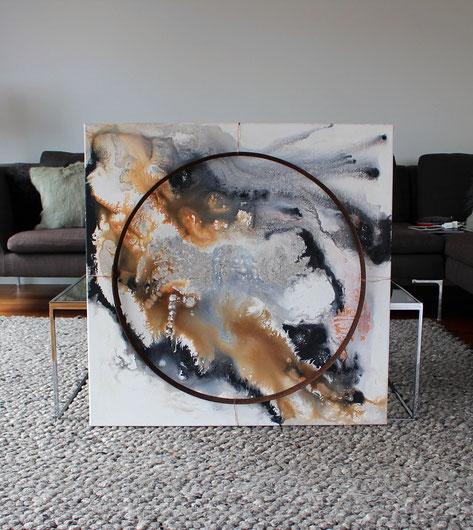"""""""Welten 2"""" - 80cm x 80cm - Acryl/rostiger Eichenfassring auf Leinwand - Preis auf Anfrage"""