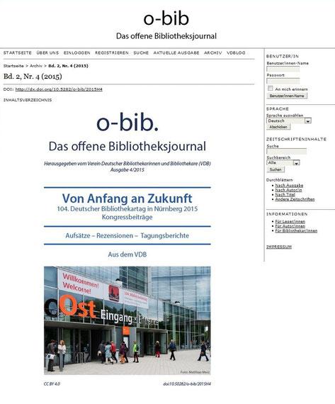 """Die Einstiegsseite von """"o-bib""""-Heft 4/2015"""