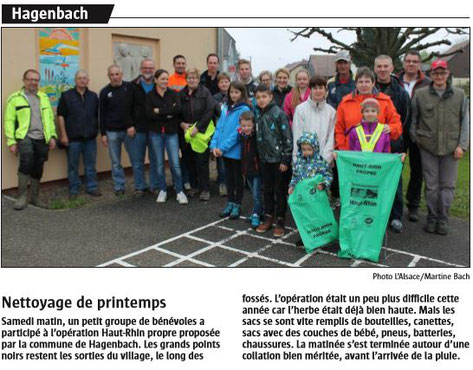 Journal l'Alsace du 26 avril 2016