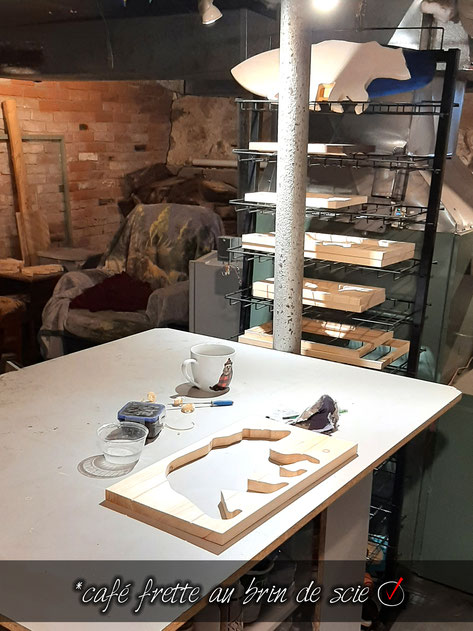 Atelier cadre bois ours décoration étagère