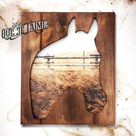 Cadre bois cheval herbe foin décoration mur clôture que je t'aime