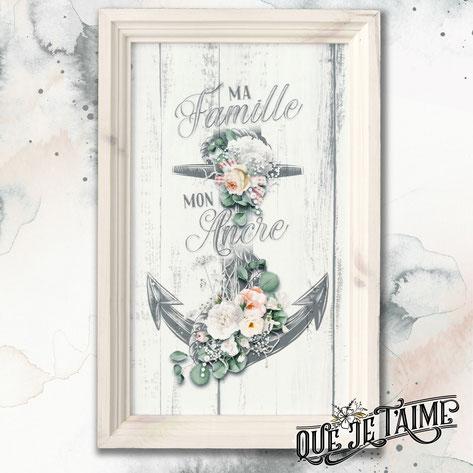 cadre bois pin blanc ancre rose famille citation inspiration décoration