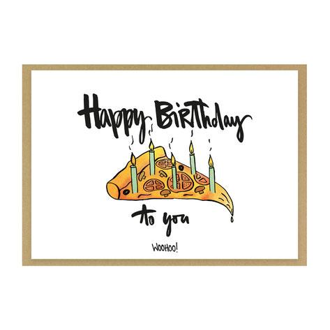 "Grußkarte ""Happy Birthday Pizza"" - Geburtstagskarte"