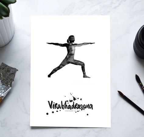 YOGA Asanas Print -Krieger 2 / Virabhadrasana 2