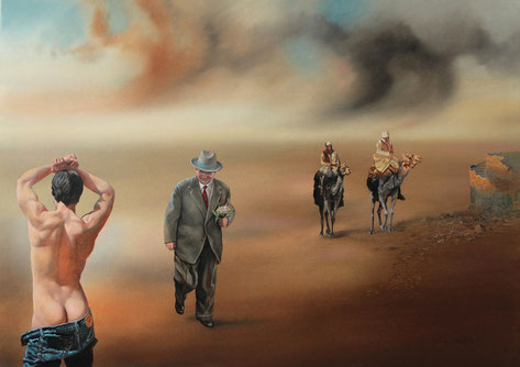 """Chef, Genia, """"Treffen mit der Avantgarde"""", Öl auf Leinwand, 100 x 140 cm, 2014"""