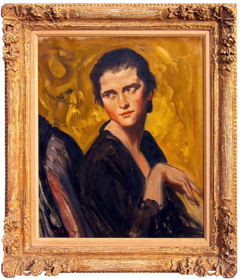 Impressionist painting of Vivienne Giesen by American artist Albert Sterner. Oil on canvas. Dated 1929. In carved giltwood frame by Heydenryk.